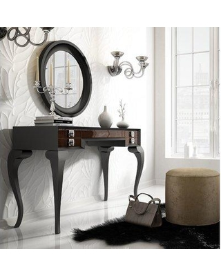 bab5a6e075e4 Everly Quinn Kirkwood Bedroom Makeup Vanity Set with Mirror EYQN6771 Color   Black Brown Glossy