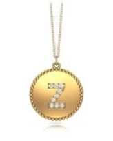 """Noray Designs 14K Gold Diamond (0.07Ct, G-H Color, SI2-I1 Clarity) A-Z Alphabet Initial Pendant, 18"""" Gold Chain (Z - Yellow)"""