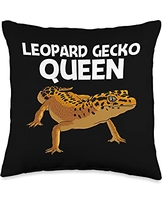 Cute Tiny Dinosaur Reptile Gecko Animals Designs Cool Leopard Gift for Women Mom Panther Gecko Lovers Throw Pillow, 16x16, Multicolor