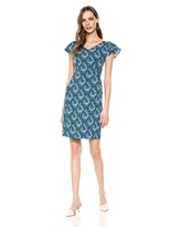Lark & Ro Women's Flutter Sleeve Double V Neck Sheath Dress, Emerald/Pale Blue Delicate Floral, 4