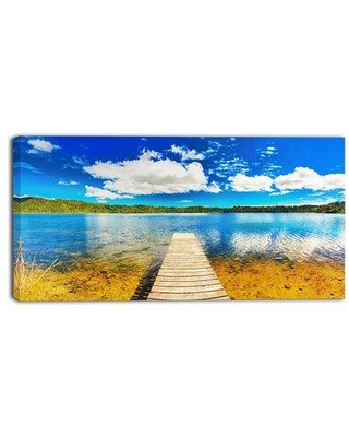 """Design Art Lake with Pier Panorama Photographic Print on Wrapped Canvas PT6782- Size: 8"""" H x 12"""" W"""