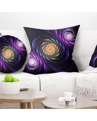 "Fractal Flowers Digital Art Pillow East Urban Home Size: 18"" x 18"", Product Type: Throw Pillow"