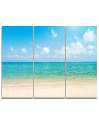Design Art Wide View of Tropical Beach - 3 Piece Graphic Art on Wrapped Canvas Set PT9503-3P