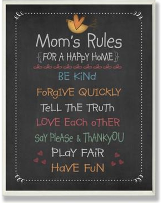 Stupell Industries Mom's Rules Typography on Wood in Black mwp-102