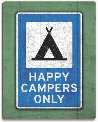 """Click Wall Art 'Happy Campers Only' Graphic Art on Plaque RSN0000237PLK Size: 30"""" H x 20"""" W x 1"""" D"""