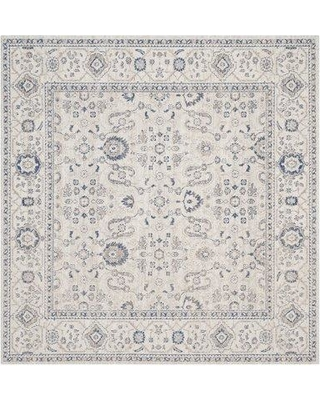 """Charlton Home Nielsen Cotton Gray/Ivory Area Rug CHLH2831 Rug Size: Square 6'7"""" x 6'7"""""""