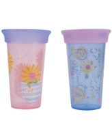 The First Years 2pk Sip Around Spoutless Cup - Flower - 9oz