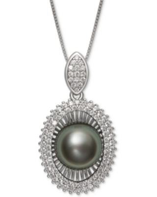 """Black Cultured Tahitian Pearl (10mm) & Cubic Zirconia 18"""" Pendant Necklace in Sterling Silver"""
