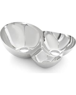 """Nambé Pulse Chip & Dip Serving Bowl, Stainless Steel in Silver, Size 4""""H X 8""""W X 5""""D   Wayfair MT1193"""