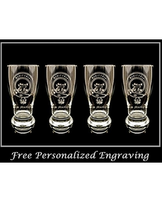 Clan MacEwen Scottish Crest Pint Glass Set of 4 - Free Personalized Engraving, Family Crest, Pub Glass, Beer Glass, Custom Beer Glass