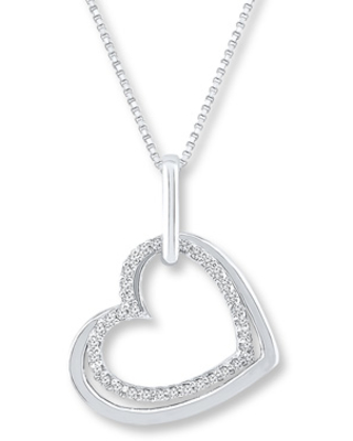 Heart Necklace 1/10 ct tw Diamonds Sterling Silver