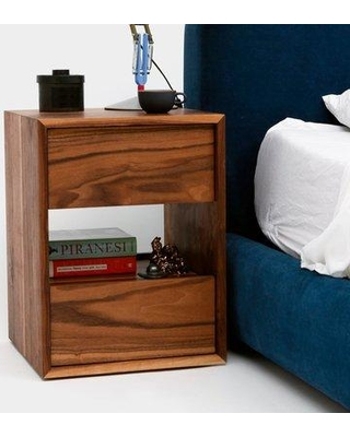 ARTLESS THN 2 Drawer Nightstand A-THN-1.5-W / A-THN-1.5-WH Color: Walnut