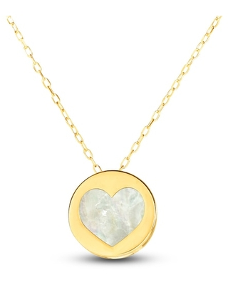 Jared The Galleria Of Jewelry Mother-of-Pearl Heart Necklace 14K Yellow Gold