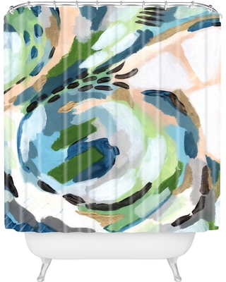 Laura Fedorowicz Greenery Shower Curtain Green - Deny Designs, Adult Unisex, Green Pink