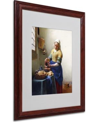 """Trademark Art 'The Milkmaid 1658-60' by Jan Vermeer Framed Painting Print BL01442 Size: 20"""" H x 16"""" W x 0.5"""" D Frame Color: Brown"""