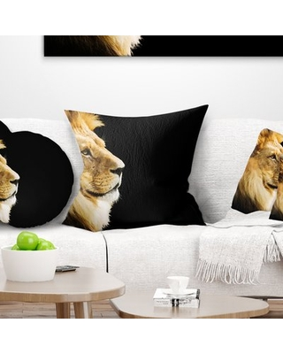 """African Large Lion Portrait Throw Pillow East Urban Home Size: 18"""" x 18"""", Product Type: Throw Pillow"""