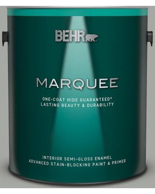 BEHR MARQUEE 1 gal. #ECC-35-1 Silver Clouds Semi-Gloss Enamel Interior Paint and Primer in One