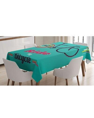 "East Urban Home Tablecloth, Polyester in Blue/Pink/Black, Size 84"" L x 60"" W 