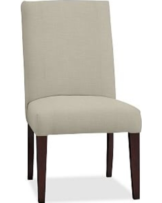 PB Comfort Square Upholstered Dining Side Chair, Premium Performance Basketweave Oatmeal