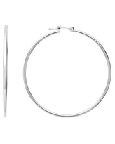 14K White Gold 1.5MM Polished Round Tube Hoops Earrings, All Sizes, Classic Gold Hoop Earrings for Women, 100% Real 14K Gold (40mm)