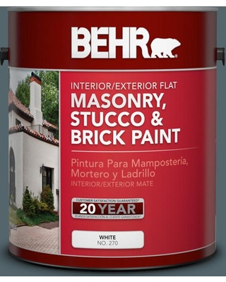 BEHR 1 gal. #N470-6 Whale Gray Flat Interior/Exterior Masonry, Stucco and Brick Paint