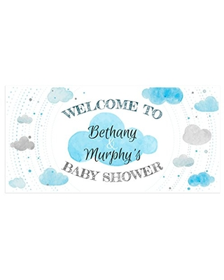 Clouds Baby Shower Banner Personalized Party Backdrop Decoration