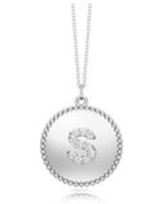 """Noray Designs 14K Gold Diamond (0.07Ct, G-H Color, SI2-I1 Clarity) A-Z Alphabet Initial Pendant, 18"""" Gold Chain (S - White)"""