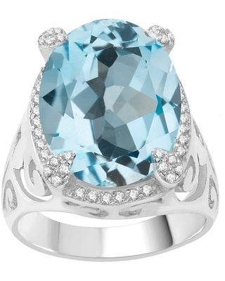 Sterling Silver with Natural Sky Blue Topaz and White Topaz Halo Ring