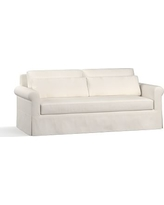 "York Roll Arm Slipcovered Deep Seat Sofa 84"" with Bench Cushion, Down Blend Wrapped Cushions, Denim Warm White"
