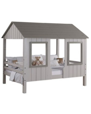 Loft Bed House Two-Tone Full Bed in Grey
