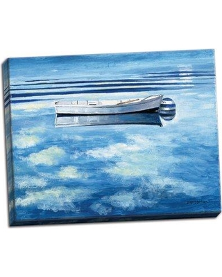 """Breakwater Bay 'Painterly Décor Cloud and Small Boat Ocean' Acrylic Painting Print BI127822 Size: 11"""" H x 14"""" W x 0.75"""" D Format: Wrapped Canvas"""