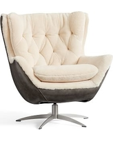 Wells Leather Swivel Armchair with Shearling, Polyester Wrapped Cushions, Legacy Tobacco