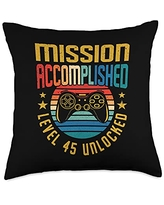 BCC Vintage Gamer Birthday Party Shirts & Gifts Mission Accomplished Level 45 Unlocked 45th Birthday Gamer Throw Pillow, 18x18, Multicolor