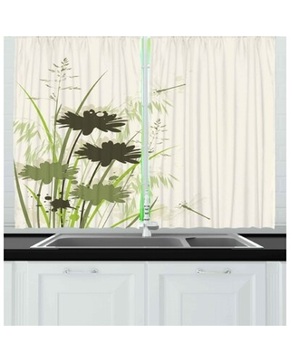 Dragonfly 2 Piece Kitchen Curtain East Urban Home