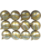 Queens of Christmas Gold Ball Ornament with Silver Spiral Design (Set of 2) WL-ORN-12PK-SPL-SVG