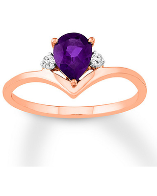 Jared The Galleria Of Jewelry Amethyst Ring White Topaz Accents 10K Rose Gold