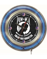"Holland Bar Stool US Armed Forces 15"" Double Neon Ring Logo Wall Clock Clk15 Branch: POW / MIA"