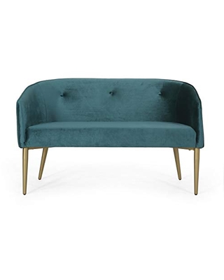 Christopher Knight Home Brayer LOVESEAT, Teal + Gold