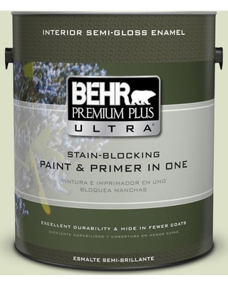 BEHR Premium Plus Ultra 1 gal. #MQ3-47 Airy Green Semi-Gloss Enamel Interior Paint and Primer in One