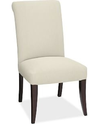 PB Comfort Roll Upholstered Dining Side Chair, Premium Performance Basketweave Ivory
