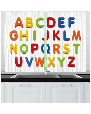 2 Piece Letters Kitchen Curtain East Urban Home