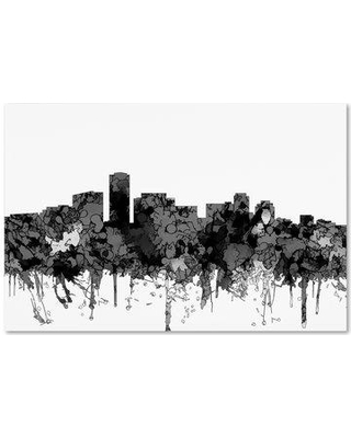"Trademark Art 'Long Beach California Skyline BW' Graphic Art Print on Wrapped Canvas MW00614-C Size: 12"" H x 19"" W"