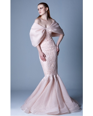 MNM COUTURE - G1103 Caped Off-Shoulder Mermaid Gown
