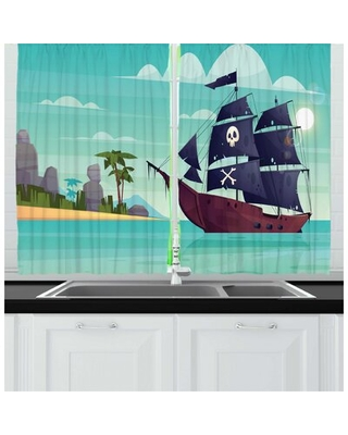 2 Piece Blue Nautical Graphic Image of a Pirate Ship on Water Near an Island Skull and Bones Kitchen Curtain Set East Urban Home