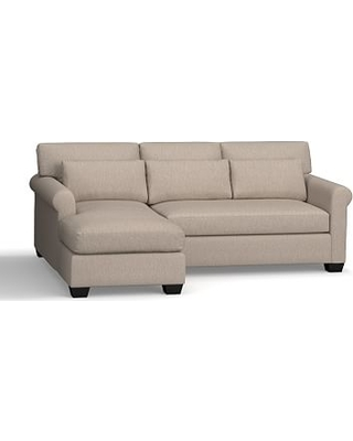 York Roll Arm Upholstered Deep Seat Right Arm Sofa with Chaise Sectional, Bench Cushion, Down Blend Wrapped Cushions, Sunbrella(R) Performance Sahara Weave Mushroom