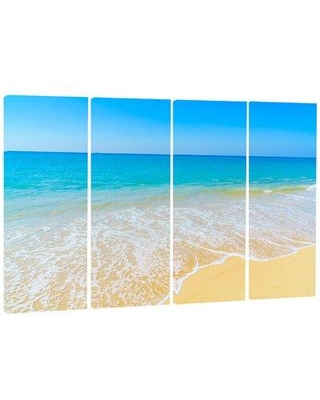 Sales On Design Art Calm Blue Sea Waves 4 Piece Photographic Print On Wrapped Canvas Set Canvas Fabric In Brown Blue Size Medium 25 32 Wayfair