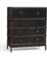 Ludlow Trunk with Stand Secretary Desk, Black