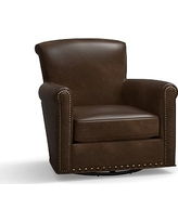 Irving Leather Swivel Glider, Bronze Nailheads, Polyester Wrapped Cushions, Leather Vintage Cocoa