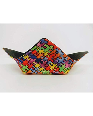 Puzzle Piece quilted cotton reversible microwavable soup bowl holder or cozy