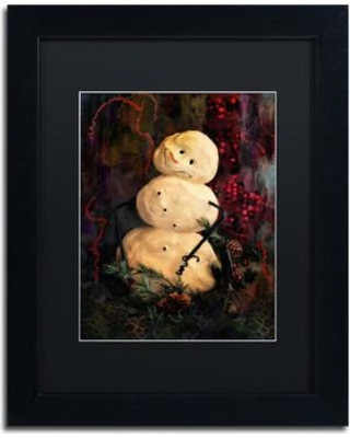 """Trademark Art 'Forest Snowman' Framed Painting Print on Canvas LBR0307-B1 Size: 14"""" H x 11"""" W x 0.5"""" D Matte Color: Black"""